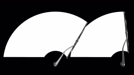 myjnia samochodowa : Two windscreen wipers on white with alpha channel mask, seamless loop 3d animation