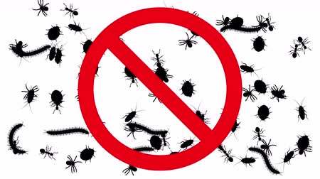 fobi : Arthropods in prohibition sign. Black silhouettes of pests swarm on white background, 3D animation.