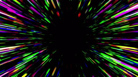 polychrome : Abstract multicolored hyperspace tunnel on black background. 3D animation, seamless loop.