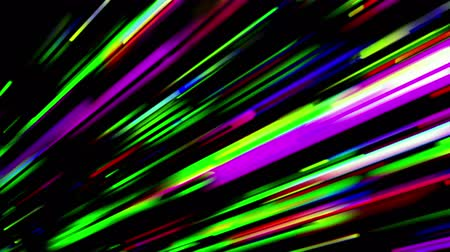 polychrome : Abstract trails of lights moving on black background. Colorful 3D animation, seamless loop.