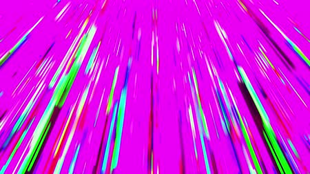 polychrome : Abstract multicolored fan-shaped beams like a rain on pink background. 3D animation, seamless loop.