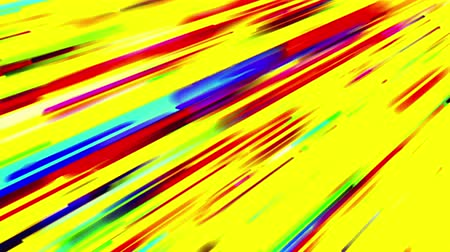 polychrome : Abstract multicolored trails of lights moving on yellow background. 3D animation, seamless loop. Stock Footage