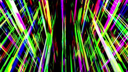 polychrome : Crossing abstract multicolored beams on black background. 3D animation, seamless loop.