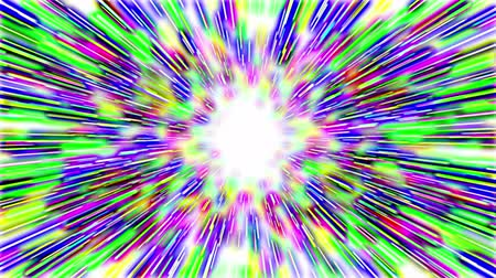 radiante : Abstract multicolored hyperspace tunnel on white background. 3D animation, seamless loop.