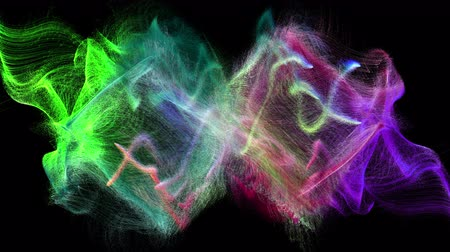 fluido : Two colorful iridescent particle streams spread on black background, 3D animation.