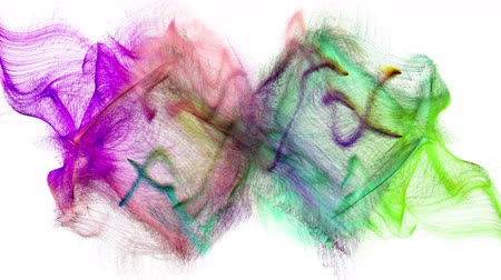 比喩的な : Two colorful iridescent particle streams spread on white background, 3D animation.