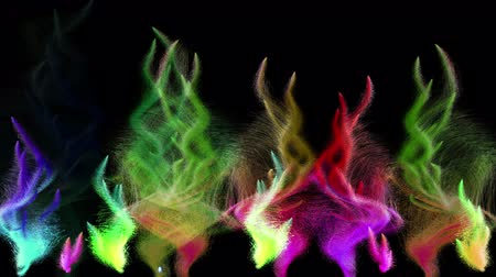 polychrome : Many colorful iridescent particle streams flashes on black background, 3D animation, seamless loop.