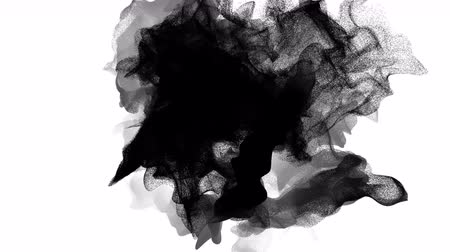 speck : Black particles on white background, 3D animation. Stock Footage