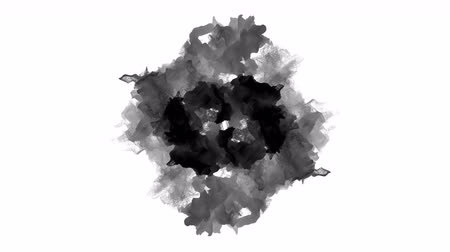 Tails of black particles on white background, 3D animation. Stok Video