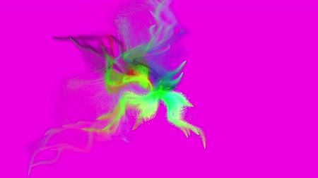 Abstract motion of beautiful motley particles emitted from the center of the screen. Seamless loop 3D animation on magenta background.