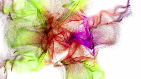 Abstract motion of beautiful colorful particles emitted from the center of the screen. 3D animation on white background. Stok Video