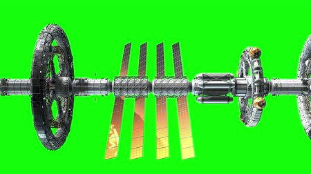 wandering : Side view of a giant sci-fi interplanetary spaceship flying on green screen, 3d animation.