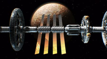 rtuť : Side view of a giant sci-fi interplanetary spaceship flying on Mercury background, 3d animation. Texture of Planet was created in graphic editor without photos. Dostupné videozáznamy