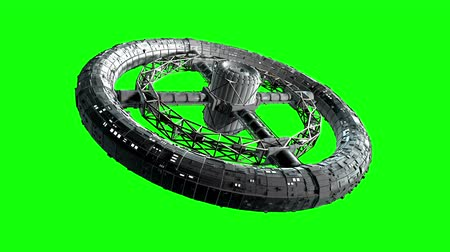 Circular space station. Giant sci-fi torus rotate on green screen, 3d animation. Stok Video