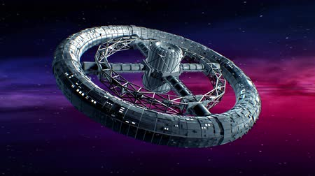 spaceship : Circular space station. Giant sci-fi torus rotate on abstract Nebula background, 3d animation.