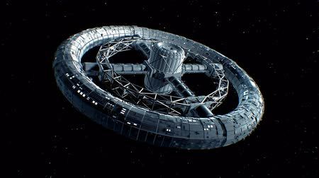 Circular space station. Giant sci-fi torus rotate on stars background, 3d animation.