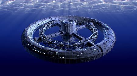 radiante : Sci-fi deep water research laboratory, 3d animation. Stock Footage