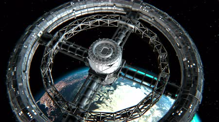 wandering : Giant sci-fi torus. Circular space station rotate on Earth background, 3d animation. Texture of the Planet was created in graphic editor without photos.