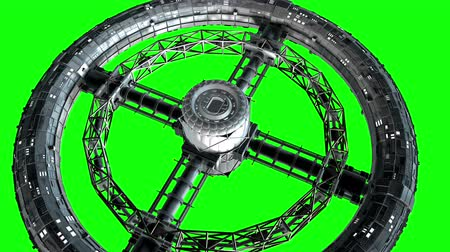 Giant sci-fi torus. Circular space station rotate on green screen, 3d animation. Stok Video