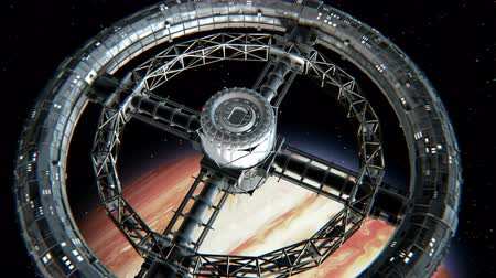 Giant sci-fi torus. Circular space station rotate on Jupiter background, 3d animation. Texture of the Planet was created in the graphic editor without photos and other images. Stok Video