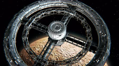 cıva : Giant sci-fi torus. Circular space station rotate on Mercury background, 3d animation. Texture of the Planet was created in the graphic editor without photos and other images.