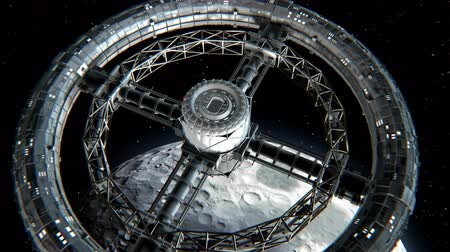 hull : Giant sci-fi torus. Circular space station rotate on Moon background, 3d animation. Lunar texture was created in the graphic editor without photos and other images.