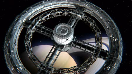 spaceship : Giant sci-fi torus. Circular space station rotate on Saturn background, 3d animation. Texture of the Planet was created in the graphic editor without photos and other images. Stock Footage