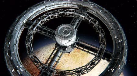 hull : Giant sci-fi torus. Circular space station rotate on Pluto background, 3d animation. Texture of dwarf Planet was created in the graphic editor without photos and other images.