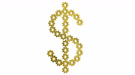 keringés : Golden gears Dollar sign. Seamless loop 3d animation on white background. Stock mozgókép