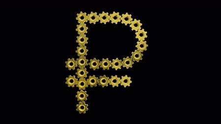 pinion : Golden gears Russian ruble sign. Seamless loop 3d animation on black background. Stock Footage