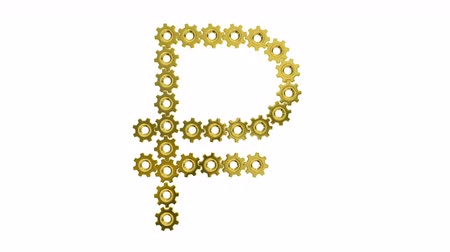 pinion : Golden gears Russian ruble sign. Seamless loop 3d animation on white background.