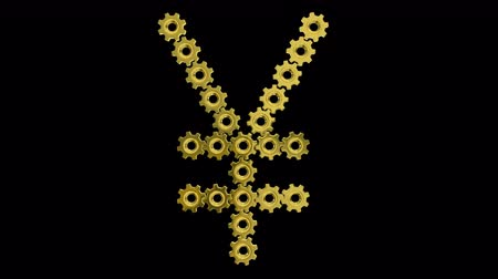 pinion : Golden gears Japanese yen sign. Seamless loop 3d animation on black background. Stock Footage