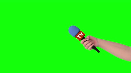 muhabir : Hand with microphone, seamless loop 3D animation, green screen. Stok Video