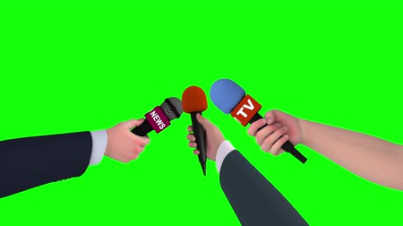 holding newspaper : Three hands with microphones on green screen, 3d animation.