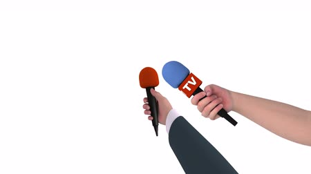 holding newspaper : Two hands of journalists with microphones on white background, alpha matte, 3d animation. Stock Footage