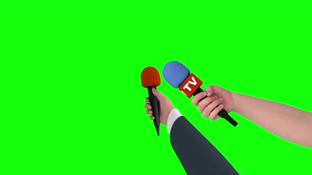 hírnév : Two hands of journalists with microphones on green screen, 3d animation. Stock mozgókép