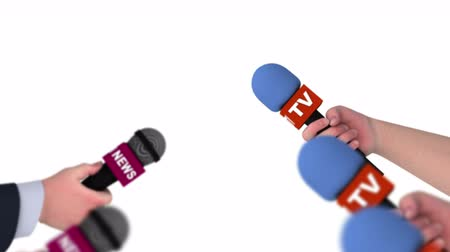 fame : Microphones in hands of reporters, 3d animation on white background, seamless loop. Stock Footage