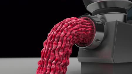 bossy : Meat grinder produces minced meat, seamless loop 3d animation. Stock Footage