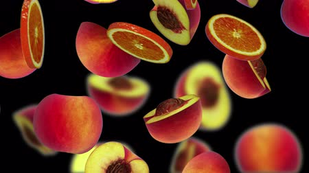 vegetal : Sections of fruits falling on black background, 3d animation, seamless loop