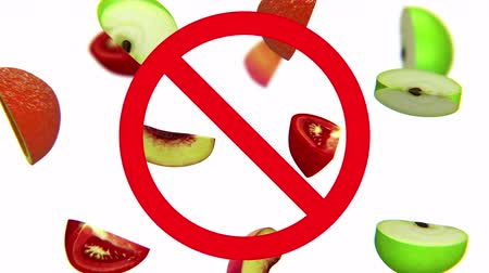 evrensel : Dangerous harmful fruits in prohibition sign, 3d animation on white background.