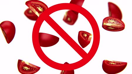 radioaktivní : Dangerous harmful tomatoes in prohibition sign, 3d animation on white background.