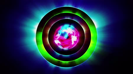 比喩的な : Multicolored concentric circles with abstract sphere in center, seamless loop. 3D motion graphics, 4K animation.