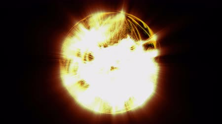 speck : Shining flows of fiery particles fill the space on black background and turn to spherical shaped like the sun. 3D motion graphics element, 4K abstract animation.