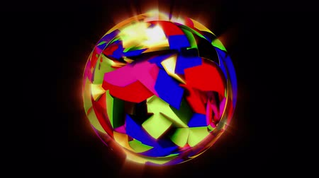 pulsate : Motley broken ball fluctuate on black background, seamless loop. 3D motion graphics, 4K abstract animation.