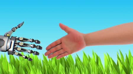 předpovídání : Handshake with robot, 3d animation on nature background. Green technologies concept.