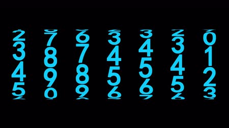 şifreleme : Blue numerals of the counter on black background, 3d animation, seamless loop.