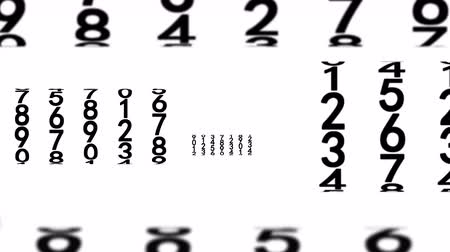 numerical code : Zoom into black numerals on white background, seamless loop 3d animation.
