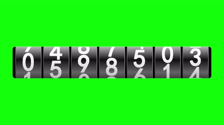 odometer : Black counter on green screen displays one million, 3d animation.