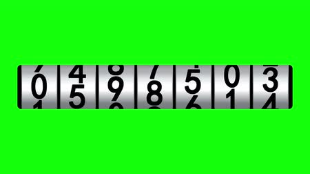 odometer : White counter on green screen displays one million, 3d animation.