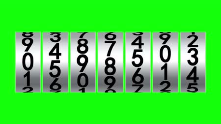 numerical code : White rollers of counter on green screen displays one million, 3d animation.
